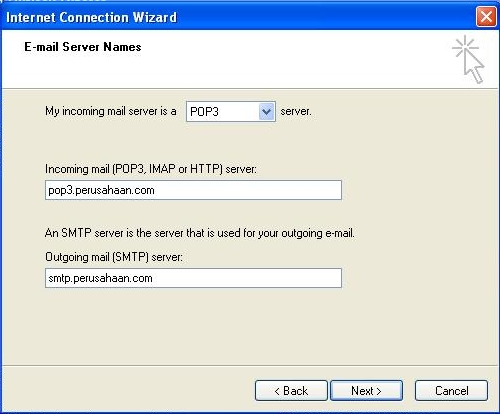 Jika anda ingin menggunakan IMAP, pada incoming server, pilih IMAP. Jika anda ingin menggunakan POP3 pada incoming server, pilih POP3. Pada incoming mail, ketikan alamat POP3 dan pada outgoing server, ketikkan alamat SMTP. Kemudian klik Next